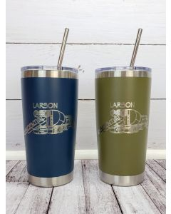 Custom Logo Engraved 20oz Hot / Cold Tumbler - Sipper Slider Lid - Double Wall Tumbler - FREE Stainless Straw