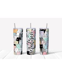 Cat Cup Tumbler with Your Name and Your Cats Names