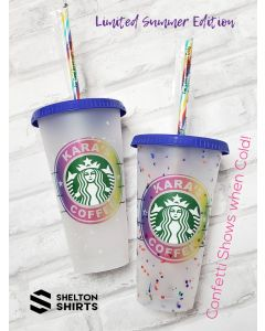 Limited Edition Color Changing Confetti Starbucks 24 oz Venti Reusable Cold Cup w/ Custom Rainbow Decal or Decal Only w/ Striped Straw!