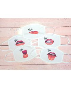 Bride Tribe Bachelorette Party Lips Face Mask - Set of Party Masks - Bride - Tribe
