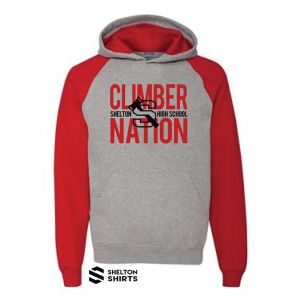 Climber Nation with Shelton Logo Red and Grey Hoodie Sweatshirt