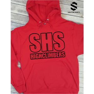 SHS Highclimbers Full Outline Red and Black Hoodie Sweatshirt