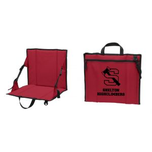 Red Padded Stadium Seat with High School Logo and Shelton Highclimbers