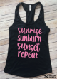 Sunrise Sunburn Sunset Repeat Cute Summer Racer Back Tank Top